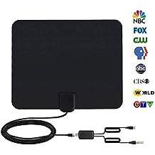 Antenna TV Interna, 95 KM Range 1080p HDTV Antenna per DTT DVB-T / DVB-T 2 con Digitale, Antenna HDTV con Amplificatore di Segnale Rimovibile e 4M di Cavo Coassiale