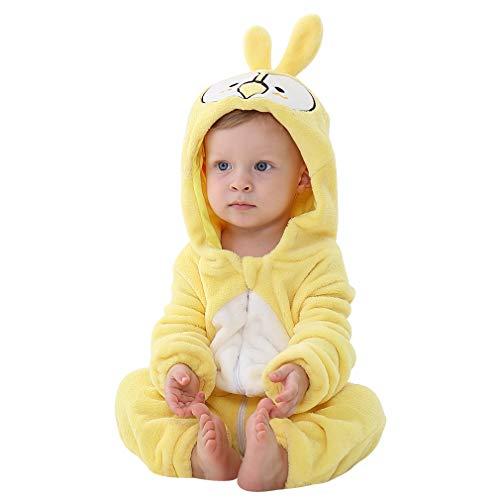 MICHLEY Baby Unisex Flanell Babykleidung, mädchen und Junge Pyjama kostüm Bekleidung für Kinder von 19-24 Monaten,Gelb