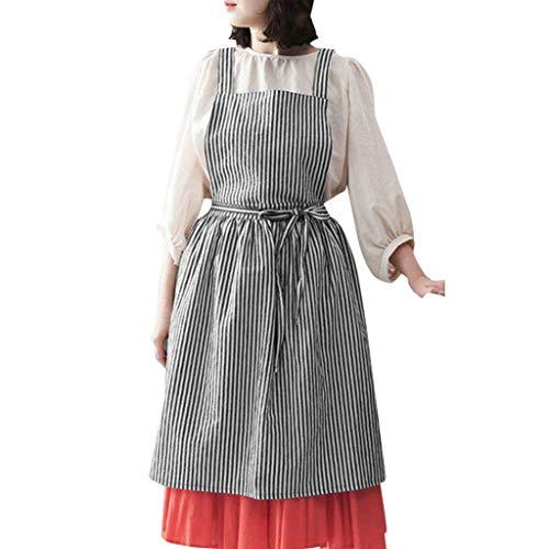 HCFKJ Kleid, S-XL, Frauen-beiläufige Schürzen Gestreifte kochende Bäckerei-Floristen-Chef-Overall-Kleid (XL, BK)