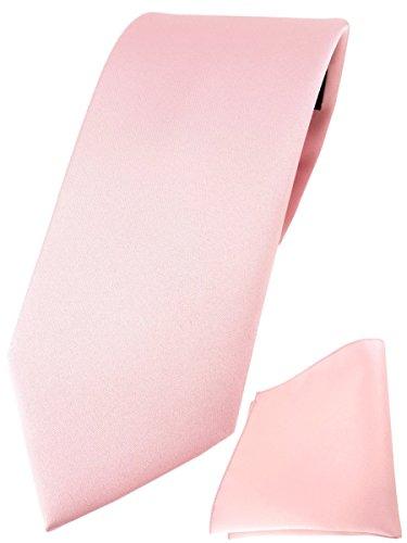 TigerTie Designer Krawatte Einstecktuch in rosa einfarbig uni