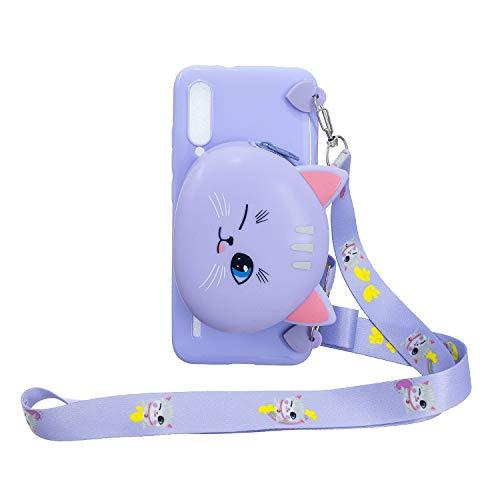 FNBK Brieftasche Hülle für Xiaomi Mi CC9E/ Mi A3, 3D Tiere Weich Karikatur Handbag Handyhülle Silikon Handytasche Case mit Trageschlaufe,Schön Kinder Mädchen Schutzhülle,Cat