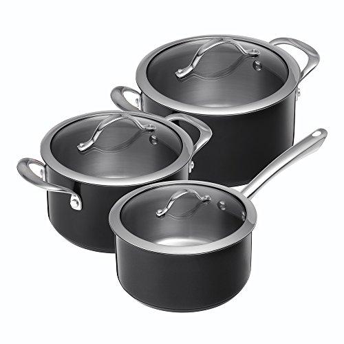 Kuhn rikon colori-batteria di pentole da cucina, in acciaio inox, acciaio inox, nero, 1.5, 2.5 & 3.5 l