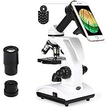 TELMU Microscopio - 40x a 1000x - Studente Regalo di Natale Microscopio Biologico Bambini, Lenti Acromatiche, Sorgente luminosa LED regolabile (con Adattatore per Smartphone)