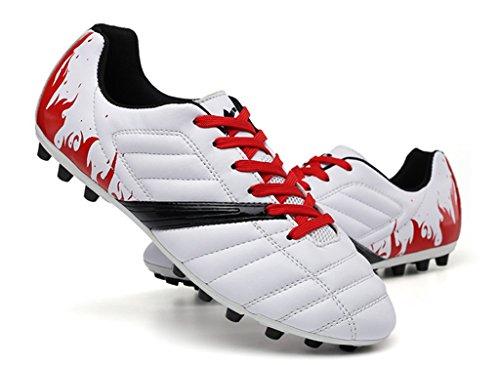 NEWZCERS Unisexe adulte enfant antidérapant turf formateurs football soccer sport lacets jusqu'à chaussure Blanc