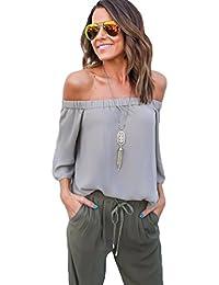 ZhiYuanAN Femmes Été Dessus d'épaule col bateau épaule dénudé manche longue chemise T-shirt
