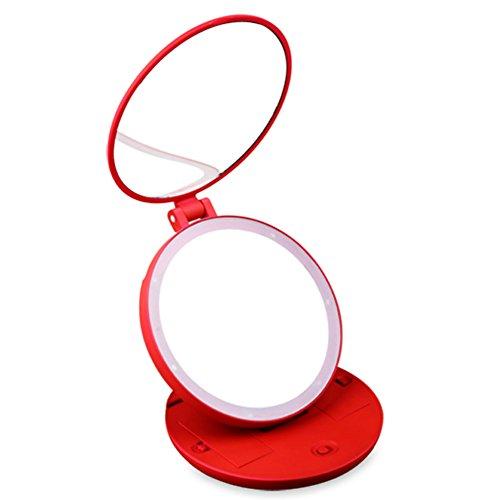 MYITIAN Tri-Fold Beleuchtete Make-up-Spiegel Portable Desktop-Spiegel 5 Vergrößerung der Hochwertigen Spiegel Gib Geschenke Spiegel-C (Bronze-beleuchtete Make-up-spiegel)