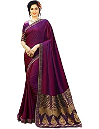 IndoPrimo Women's Silk Embroidered Wedding Wear Saree With Blouse Piece (Free Size, Multi Colour)
