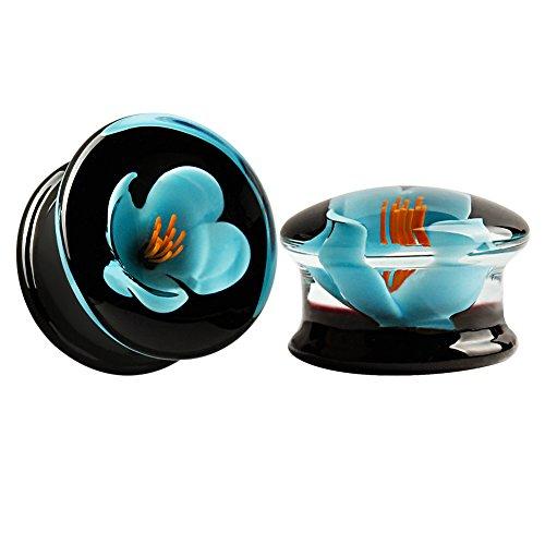 KUBOOZ (1 Paar) Glas-handgefertigte blaue Blume Ohr Plugs Tunnels Messgeräte Bahre Piercings