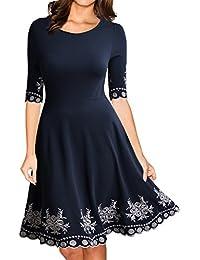 Miusol Damen Abendklei Sommer Kurz vintage Rockabilly Kleid Cocktail Ballkleid Blau / Rot Gr.36-44