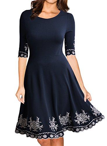 Miusol Abendkleid Sommerkleid Kurz Vintage Rockabilly Cocktail Ballkleid Blau