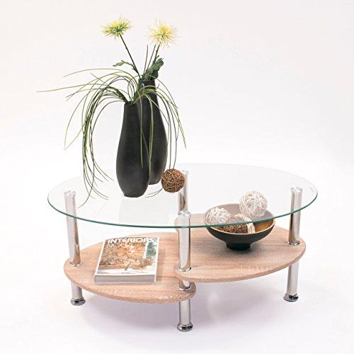 Mesa de Centro de Cristal Ovalado y revistero de madera de Roble