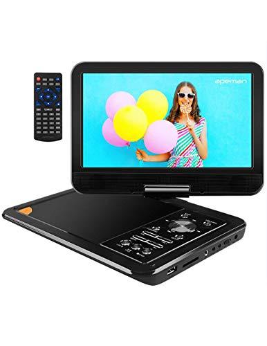 APEMAN 9.5' Reproductor de DVD Portátil para el Coche Reproductor DVD con Pantalla Giratoria Soporta Tarjeta SD/USB/CD/DVD Batería Recargable con Mando a Distancia