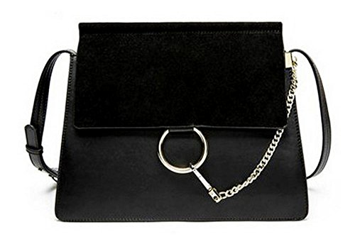 Nouveau Portefeulilles en cuir pour sacs à bandoulière carrés diagonaux black large