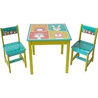 """Preisvergleich für ODT Sitzgruppe Kindersitzgruppe Kindertischgruppe Kindertisch TischHolz 1Tisch, 2 Stühlen 1 Tisch und 2 Stühle """"4 Tiere"""""""