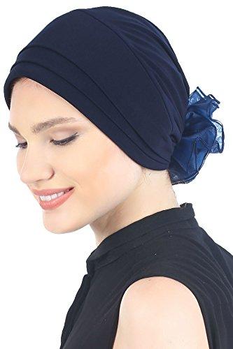 Gepolsterte weich stoff Damen Mütze mit Chiffon Rosen Turban, Kappe - Krebs, Chemo, Alopecia, Haarausfall (Navy) (Männer Mit Turban Stirnband)