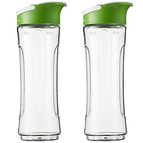"""AmazonBasics - Ersatzflasche für den """"Mix & Go""""-Mixer, 600 ml, Farbe: Transparent, 2er-Pack Mixer Mit 2 Gläser"""