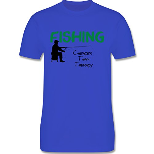 Angeln - Fishing - Cheaper Than Therapy - Herren Premium T-Shirt Royalblau