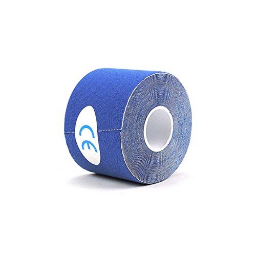 HEALIFTY Kinesiologie Sport Tape Rollen Sie Baumwollelastischen klebenden Muskel-wasserdichten Verband für Belastungs-Unterstützung (Blau)