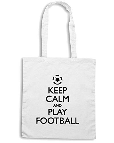 T-Shirtshock - Borsa Shopping WC1046 Keep Calm and Play Football Maglietta Bianco