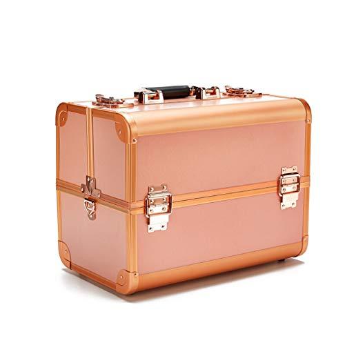 Maquillage organisateur vernis à ongles bijoux boîte à cosmétiques beauté vanity case espace très grand (Couleur : Or)