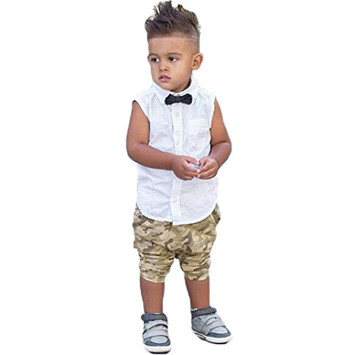 Boys Clothing Sets, SHOBDW Newborn Infant Kids Boy Bow T shirt Tops Camouflage Pants Outfits Clothes Set (2 Years, White)