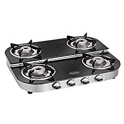 Padmini Four Burner Glass Top Gas Stove (CS-4GT Ru ST)-Black
