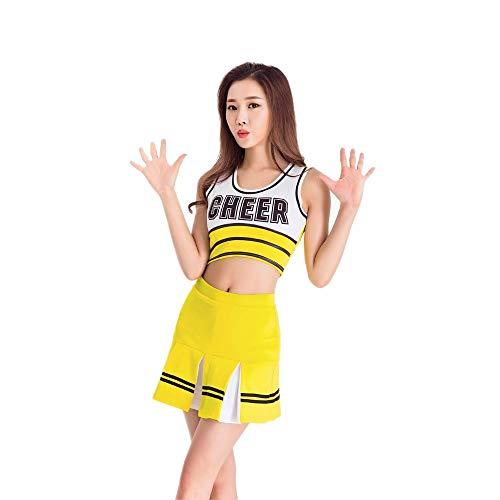 er-Kostüm,Mädchen Cheerleading Uniform Rock Tops Brief Drucken Fußball Basketball High School Musik Sport Wettbewerb Tanz,Gelb,S ()