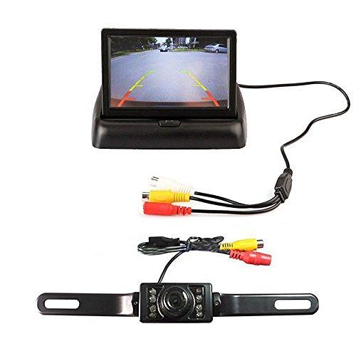 ROGUCI Sistema de cámara trasera para coche con monitor TFT plegable de 4,3 pulgadas y cámara con visión nocturna