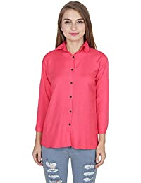 My Swag Women s Casual Round up Sleeve Turn-Down Collar Solid Rayon Shirts  (Medium 200a40d8cc