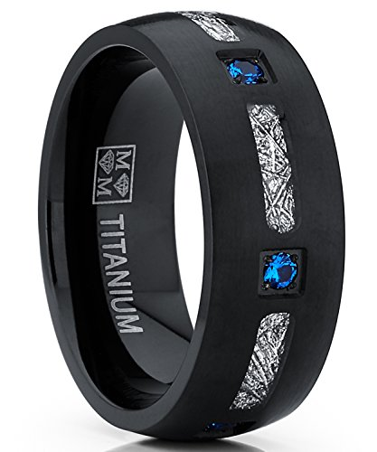 Metal Masters Co. Herren schwarz Titan ehering mit Meteoriten Imitation Design und blauem zirkonia 8mm