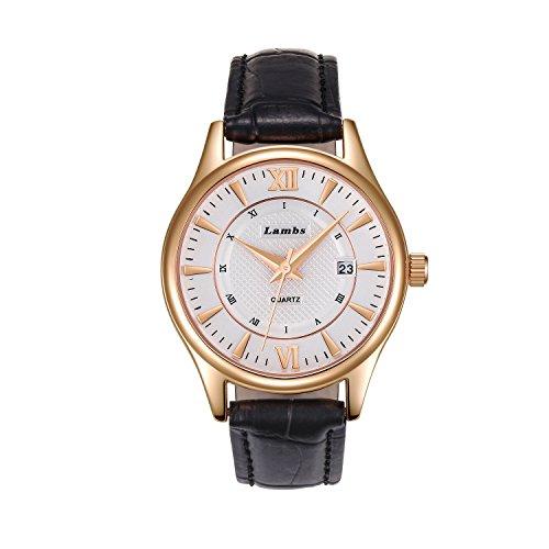 Damen Armbandunr, Damenuhr Wasserdicht Retro Handgelenk Analoge Uhr Klassische Lässige Uhren mit Lederarmband Armbanduhren für Damen Präzise Zeit Bewegung-Schwarz / Braun (Schwarz)