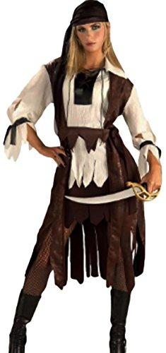 Pirates of the Caribbean Piraten-Kostüm, 2-teilig, braun weiss, Onesize (Caribbean Pirate Girl Kostüme)