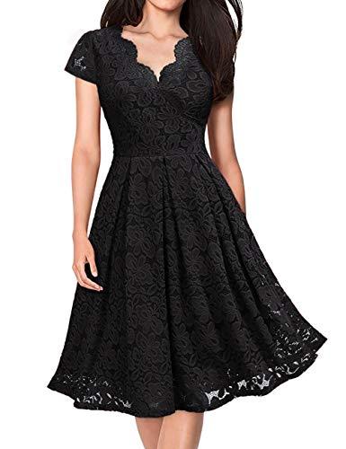 KOJOOIN Damen Spitzenkleid 1950er Cocktailkleid Vintage Brautjungfernkleider für Hochzeit Kurzes A-Linie Abendkleider Schwarz (Kurze Ärmel)...