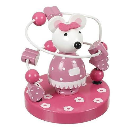 Orange Tree Toys : jouet de cadre perle en bois : souris rose