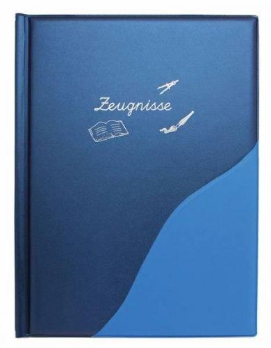 Idena Zeugnismappe, 12 Hüllen, metallic, A4, blau