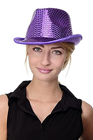 DRESS ME UP - Karneval Fasching Hut Damenhut Herrenhut Fedora lila mit Pailletten Paillettenhut (Lila Pimp Halloween-kostüm)