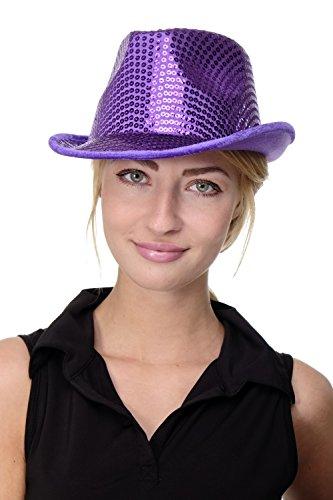 Fasching Hut Damenhut Herrenhut Fedora lila mit Pailletten Paillettenhut VJ-201-purple (Lila Gangster Kostüm)
