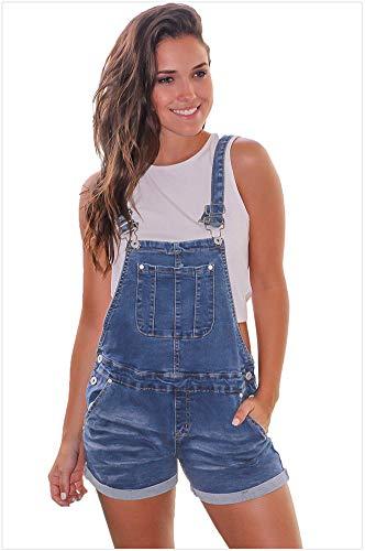 Damen Denim Style Aufrollbare Manschetten Button-Down-Kreuzmuster Kurze Latzhose,Blue,L - Manschette Denim Kurze