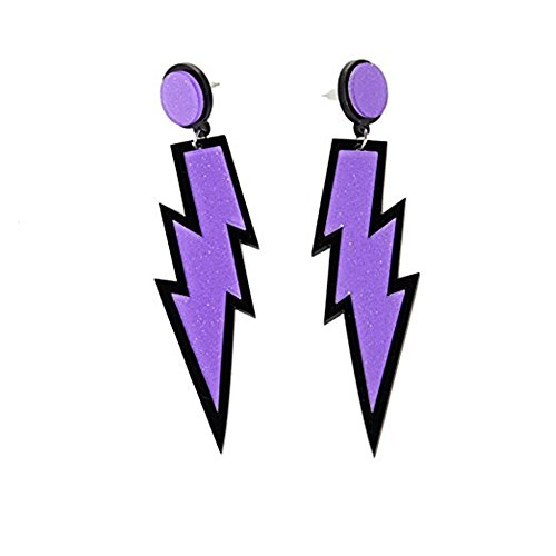 Women's Lightning Bolt Earrings in Purple or Neon Pink