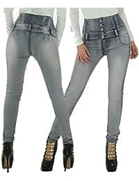 Vaquero Wonder/ Push Up Cinturilla Alta Pierna Slim Skinny Jeans Vaquero Colombiano Estilo 100% Jean Levanta Glúteos- Push Up Pierna Recta