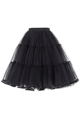 Babyonline® Neu Damen Tüllrock 3 Lage Prinzessin Tutu Organza Petticoat Ballettrock Unterrock Pettiskirt Schwarz