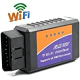FuriAuto WiFi Wireless Mini ELM327 OBDII Auto Coche, OBD2 Escáner Herramienta de Análisis de Diagnostico CAN-BUS, Lector de Código Diagnóstico a Bordo Para iPhone 6s / 6 / 5 / 4 / iPad 4 / iPod, para IOS, Windows, Android Tablet, Smartphone, Negro