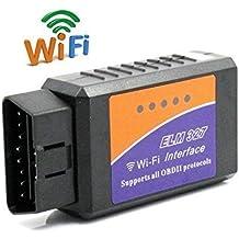 FuriAuto WiFi Wireless Mini ELM327 OBDII Auto Coche, OBD2 Escáner Herramienta de Análisis de Diagnostico CAN-BUS, Lector de Código Diagnóstico a Bordo Para iPhone 6s / 6 / 5 / 4 / iPad 4 / iPod, para IOS, Windows, Android Tablet, Smartphone, Negro