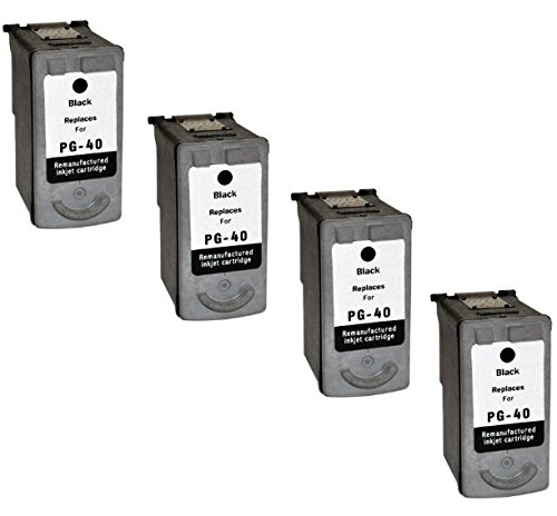 Prestige Cartridge PG-40 4er Pack Druckerpatronen für Canon Pixma iP 1200 1300 1600 1700 1800 1900P2200 2400 2500 2600 MP 140 150 160 170 180 190 210 220 450 460 470 MX 300 310 schwarz - Pg-40 Cartridge Ink