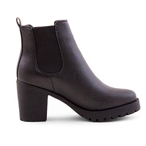 Stylische Damen Ankle Chelsea Boots Stiefeletten mit Blockabsatz in hochwertiger Lederoptik Schwarz London