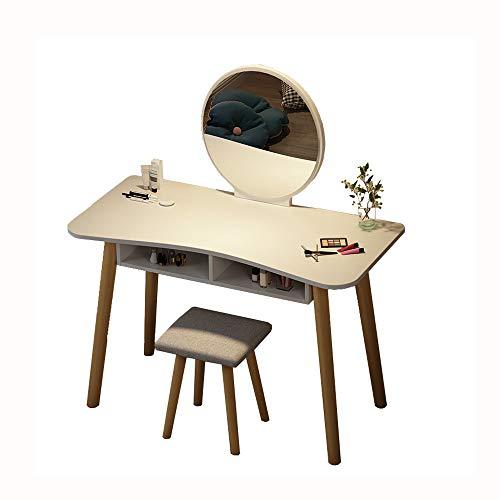 LMCLJJ Moderna Mesa de Ordenador, la vanidad del Maquillaje, Mesa Multifuncional con 2 Espejo de Compartimentos...