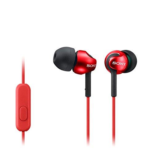 Sony MDR-EX110AP Cuffie Auricolari con Microfono, Rosso