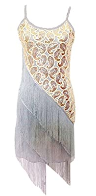 Izacu Flocc Women 1920s Art Deco Sequin Paisley Flapper Tassel Glam Party Dress