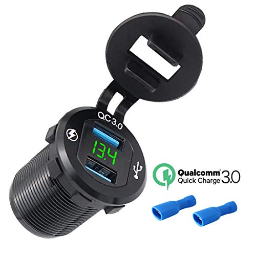 Presa USB per Auto e Moto 12V/24V, Doppio Porte Caricabatterie USB QC3.0 Caricator Rapido Impermeabile con Voltmetro LED Display Digitale per Moto, Auto, Camper, Camion, Molto (1 Pezzi - Verte )
