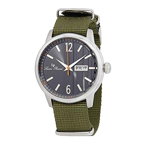 Lucien Piccard Milanese Black Dial Green Textile Strap Mens Watch 40027-01-GRNS